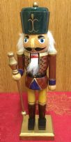 Hand Painted Wooden Nutcracker Traditional Christmas Ornament ~ Green Hat